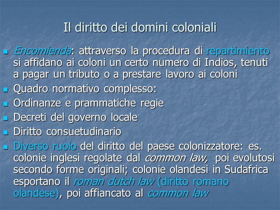 Il diritto dei domini coloniali