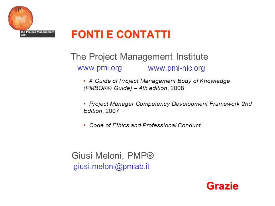 FONTI E CONTATTI Grazie The Project Management Institute