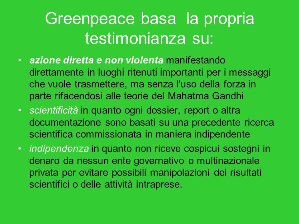 Greenpeace basa la propria testimonianza su: