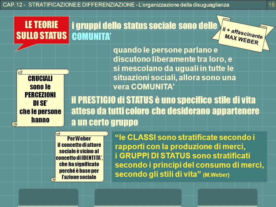i gruppi dello status sociale sono delle COMUNITA'
