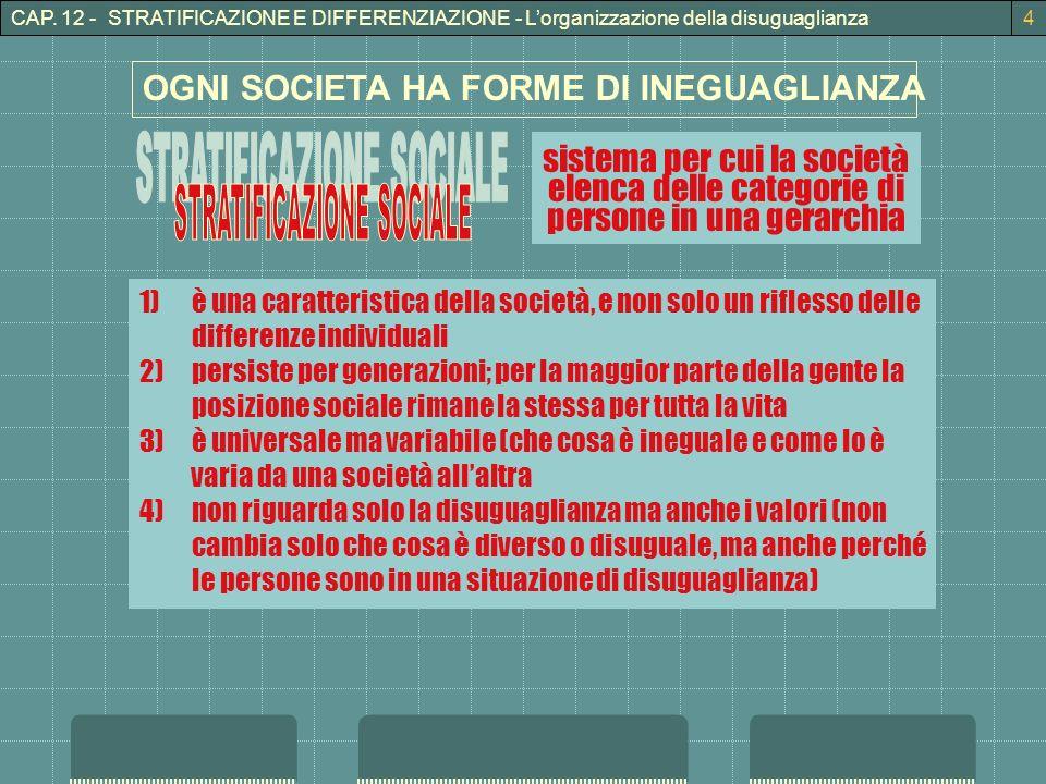 STRATIFICAZIONE SOCIALE