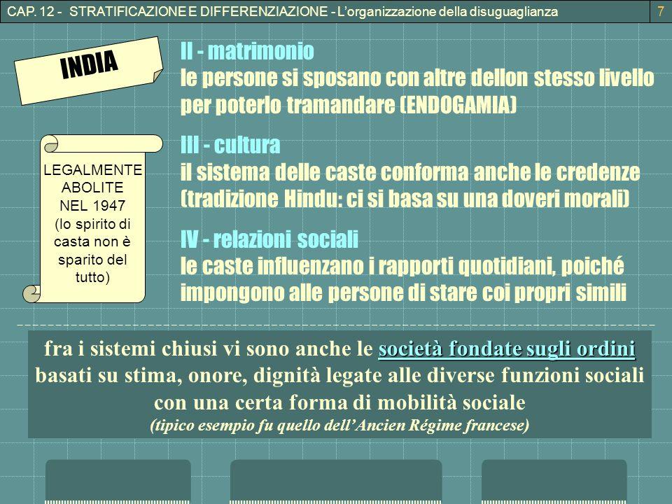 CAP. 12 - STRATIFICAZIONE E DIFFERENZIAZIONE - L'organizzazione della disuguaglianza