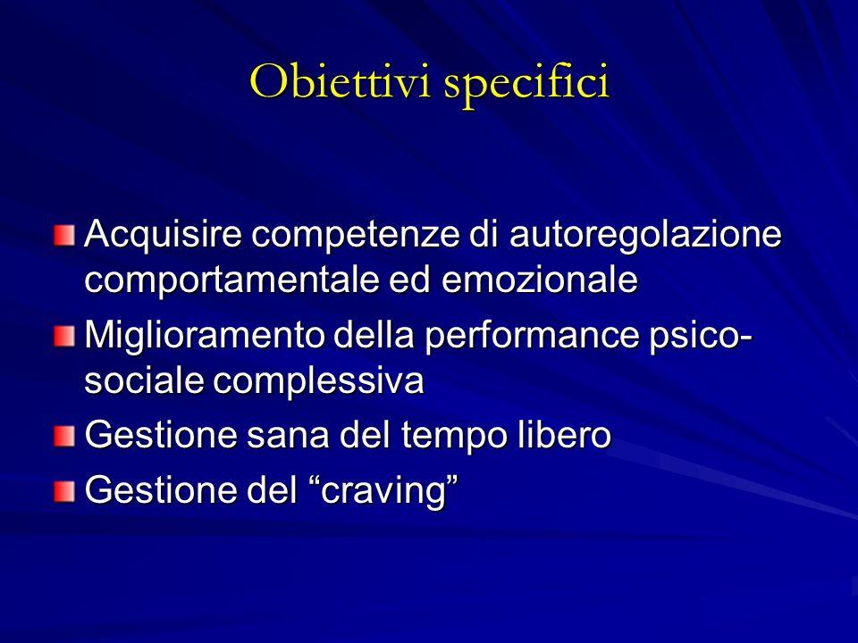 Obiettivi specifici Acquisire competenze di autoregolazione comportamentale ed emozionale. Miglioramento della performance psico-sociale complessiva.