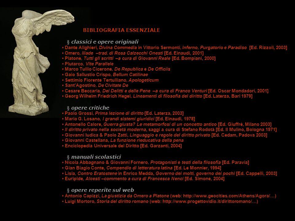BIBLIOGRAFIA ESSENZIALE § classici e opere originali