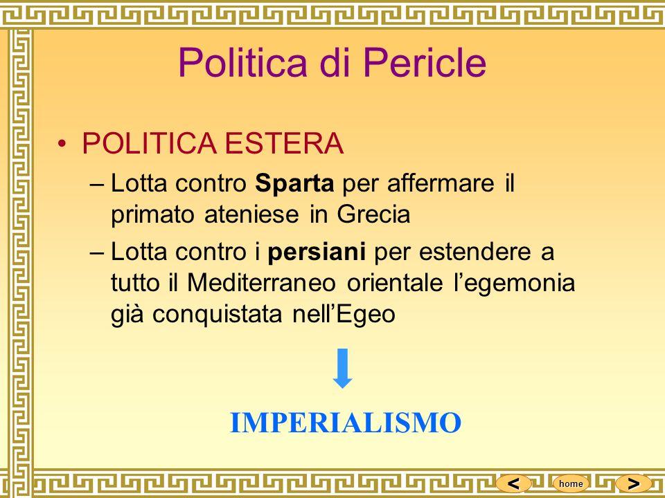 Politica di Pericle POLITICA ESTERA IMPERIALISMO