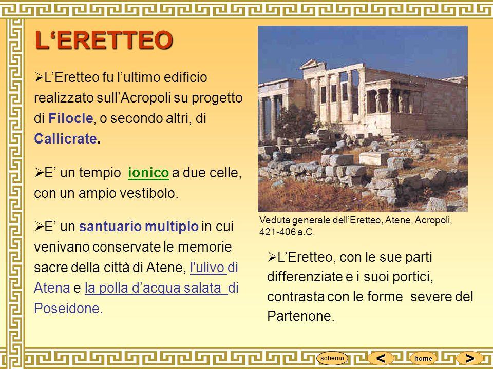 L'ERETTEO L'Eretteo fu l'ultimo edificio realizzato sull'Acropoli su progetto di Filocle, o secondo altri, di Callicrate.
