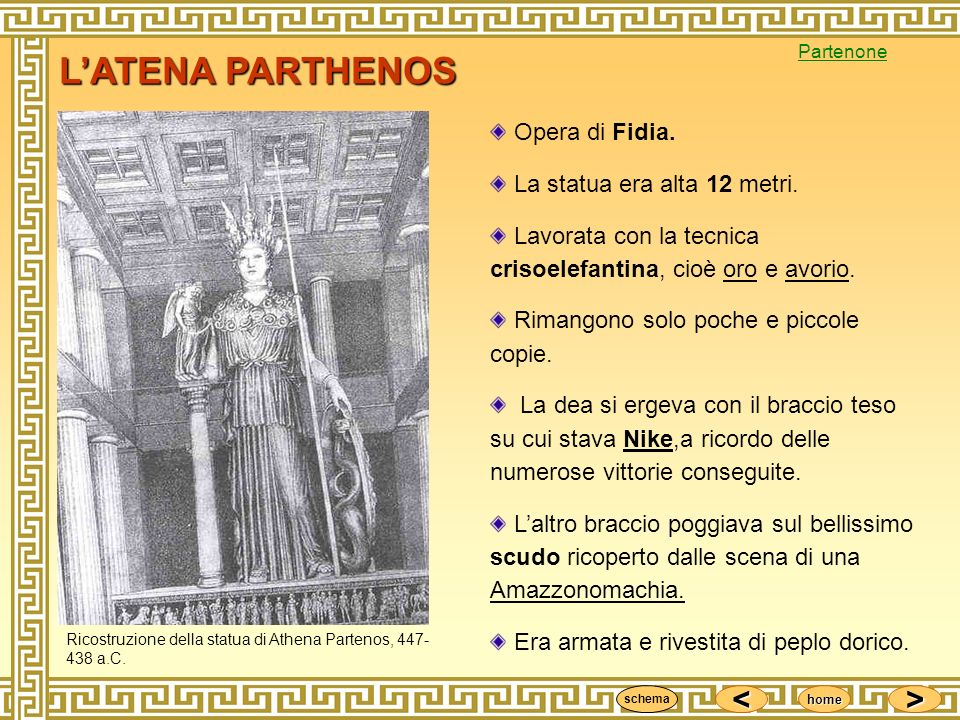 L'ATENA PARTHENOS Opera di Fidia. La statua era alta 12 metri.