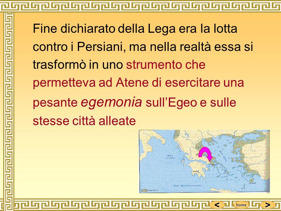 Fine dichiarato della Lega era la lotta contro i Persiani, ma nella realtà essa si trasformò in uno strumento che permetteva ad Atene di esercitare una pesante egemonia sull'Egeo e sulle stesse città alleate