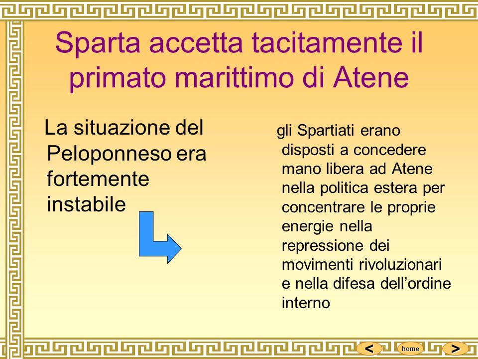 Sparta accetta tacitamente il primato marittimo di Atene