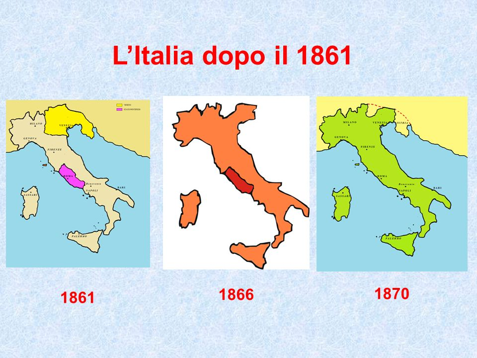 L'Italia dopo il 1861 1870 1861 1866