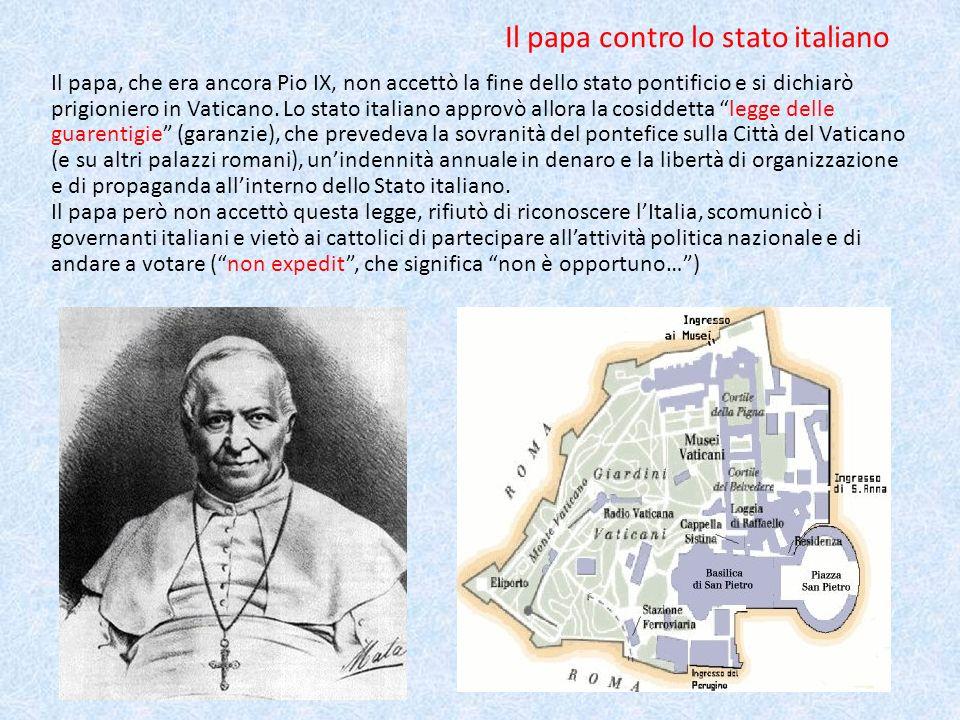 Il papa contro lo stato italiano