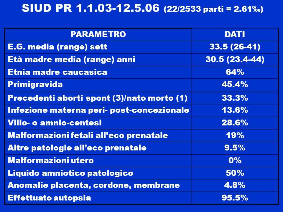 SIUD PR 1.1.03-12.5.06 (22/2533 parti = 2.61‰) PARAMETRO DATI