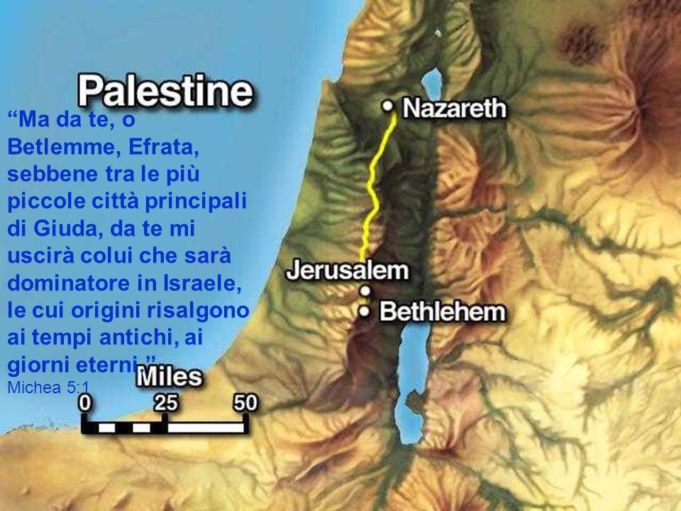 Ma da te, o Betlemme, Efrata, sebbene tra le più piccole città principali di Giuda, da te mi uscirà colui che sarà dominatore in Israele, le cui origini risalgono ai tempi antichi, ai giorni eterni.