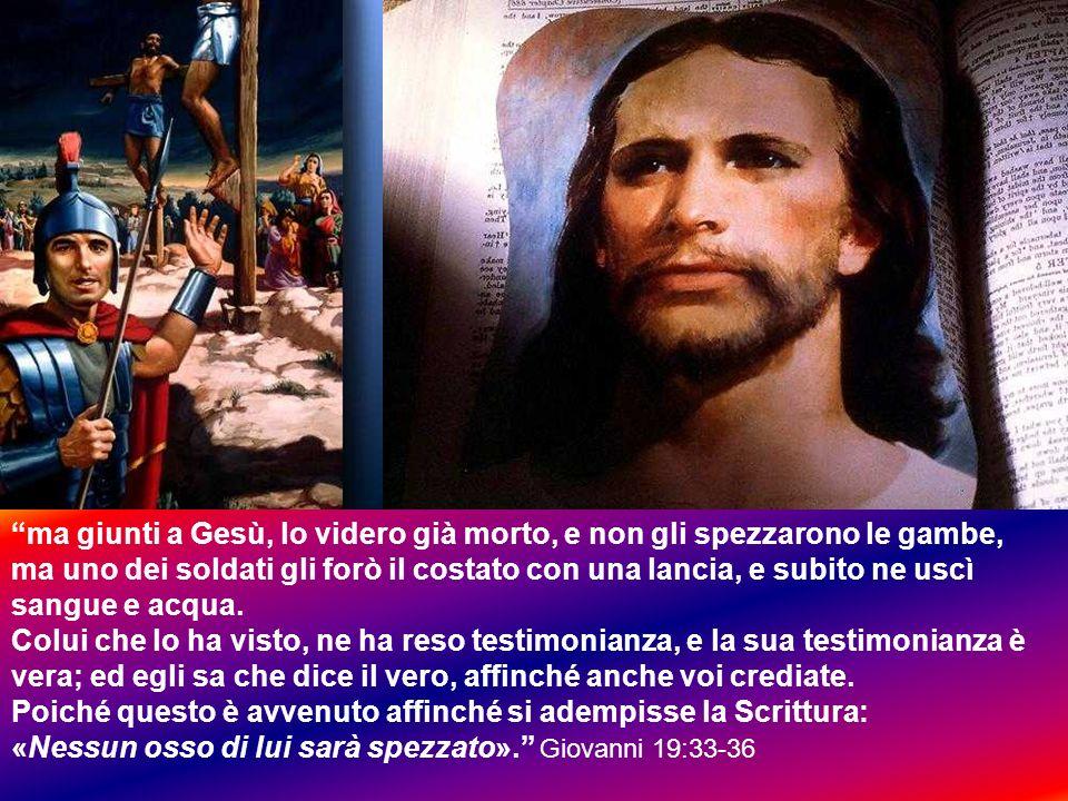 ma giunti a Gesù, lo videro già morto, e non gli spezzarono le gambe,
