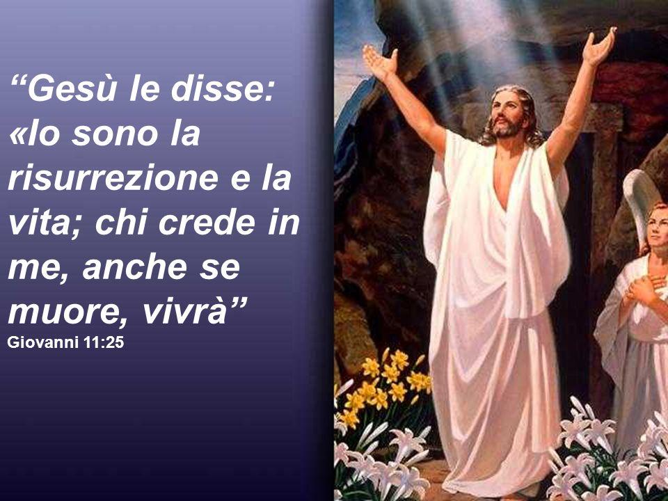 Gesù le disse: «Io sono la risurrezione e la vita; chi crede in me, anche se muore, vivrà Giovanni 11:25