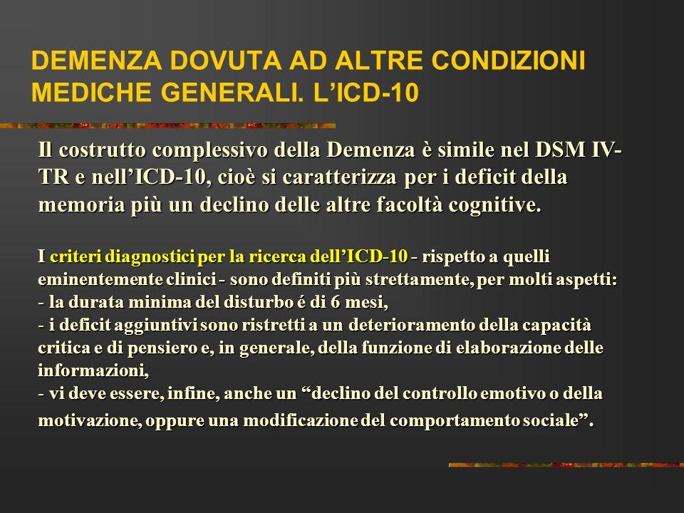 DEMENZA DOVUTA AD ALTRE CONDIZIONI MEDICHE GENERALI. L'ICD-10