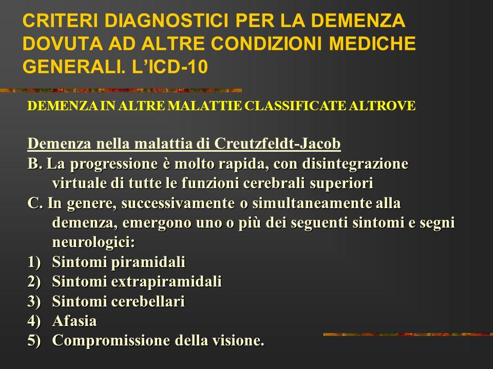 CRITERI DIAGNOSTICI PER LA DEMENZA DOVUTA AD ALTRE CONDIZIONI MEDICHE GENERALI. L'ICD-10