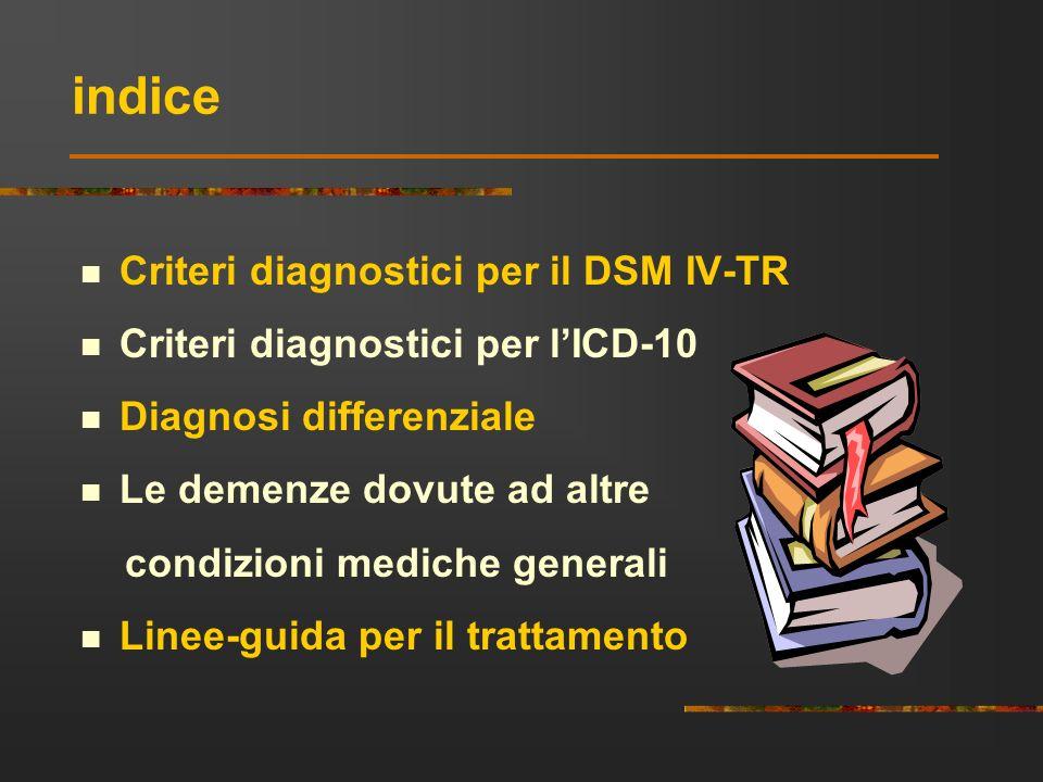 indice Criteri diagnostici per il DSM IV-TR