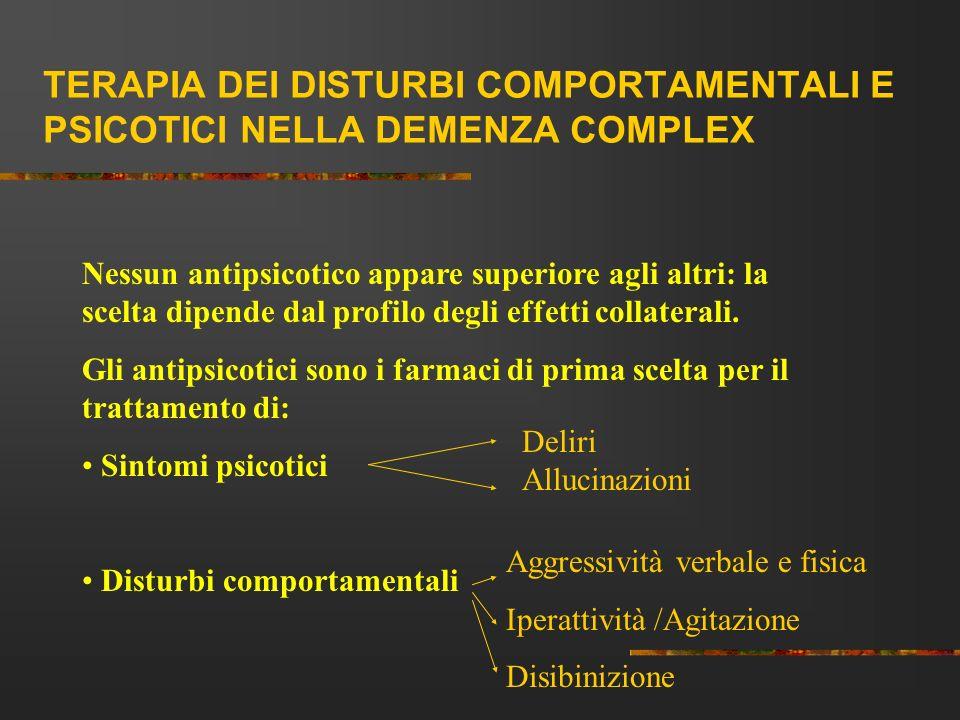 TERAPIA DEI DISTURBI COMPORTAMENTALI E PSICOTICI NELLA DEMENZA COMPLEX