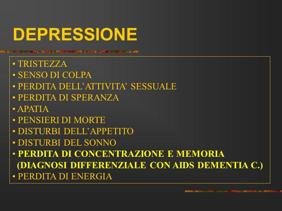 DEPRESSIONE TRISTEZZA SENSO DI COLPA PERDITA DELL'ATTIVITA' SESSUALE