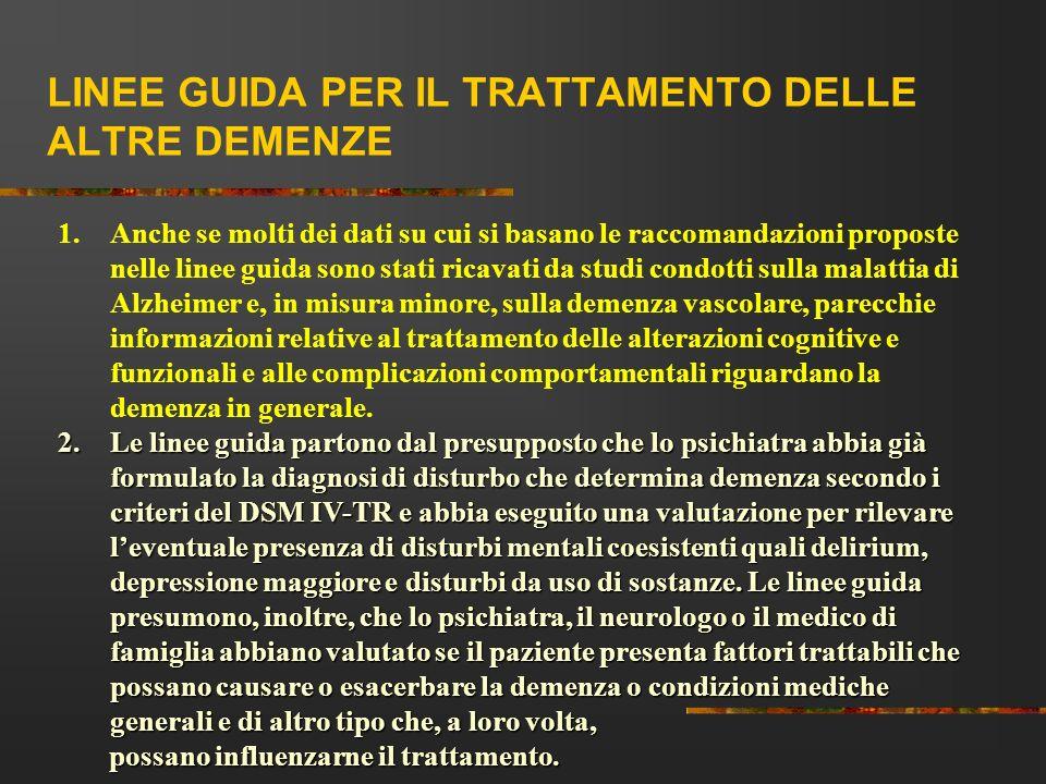 LINEE GUIDA PER IL TRATTAMENTO DELLE ALTRE DEMENZE