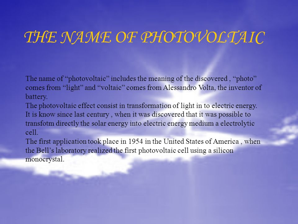 THE NAME OF PHOTOVOLTAIC