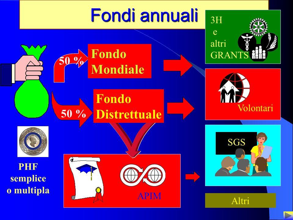 Fondi annuali Fondo Mondiale Fondo Distrettuale 50 % 50 % 3H e altri