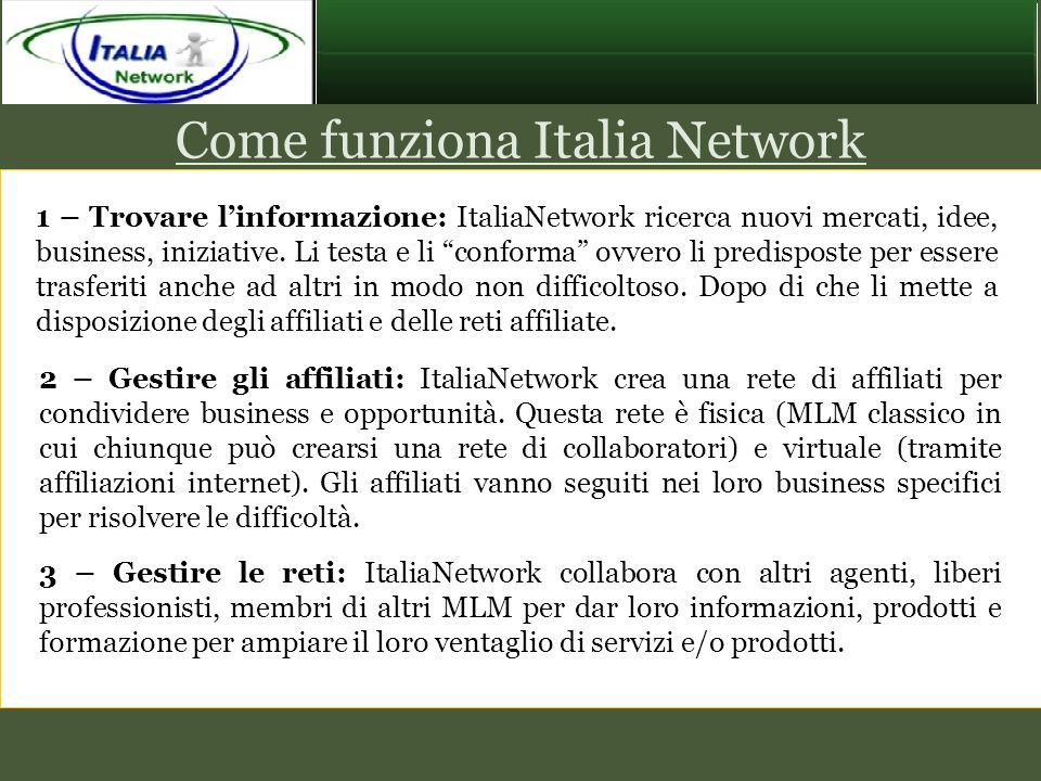 Come funziona Italia Network