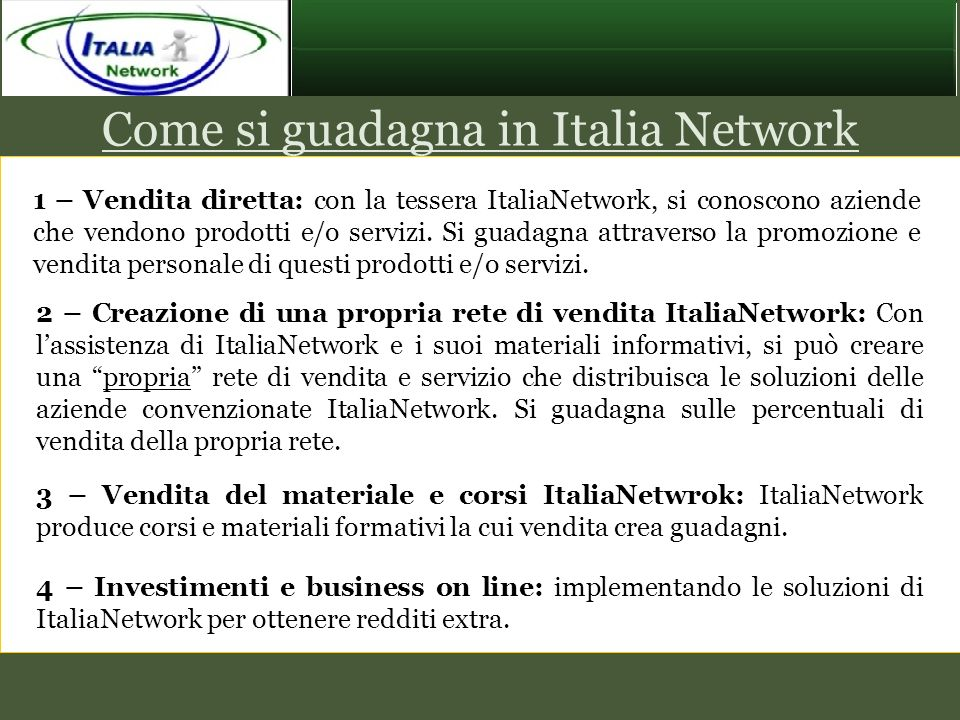 Come si guadagna in Italia Network