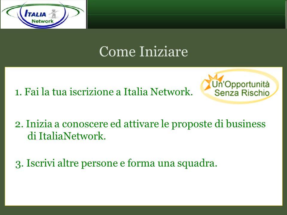 Come Iniziare 1. Fai la tua iscrizione a Italia Network.