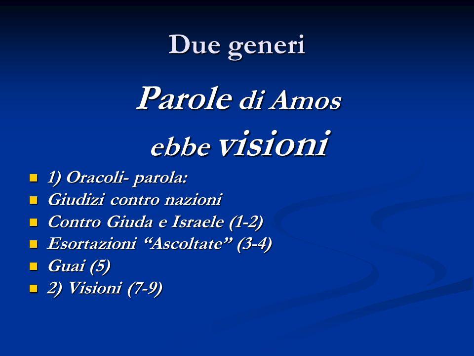 Parole di Amos Due generi ebbe visioni 1) Oracoli- parola: