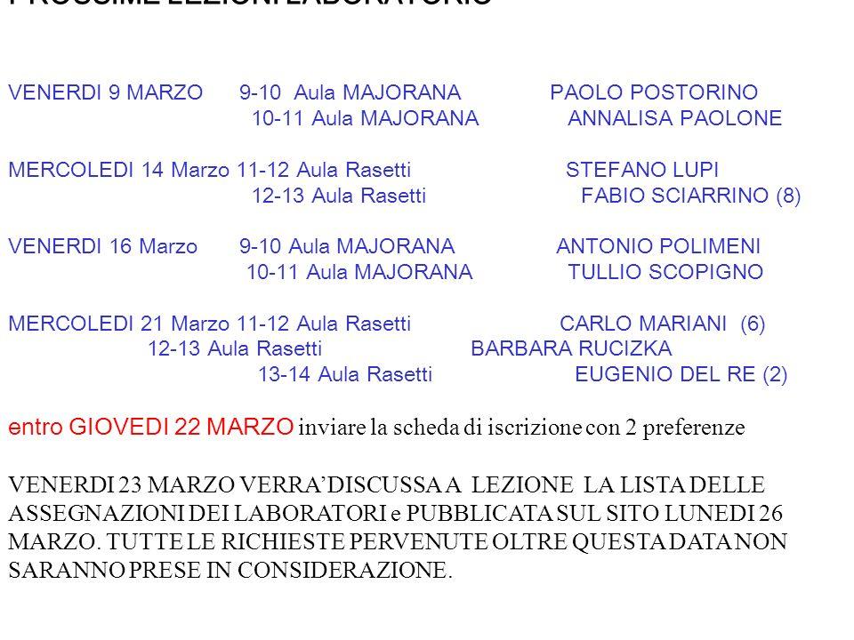 >> PROSSIME LEZIONI LABORATORIO VENERDI 9 MARZO 9-10 Aula MAJORANA PAOLO POSTORINO 10-11 Aula MAJORANA ANNALISA PAOLONE MERCOLEDI 14 Marzo 11-12 Aula Rasetti STEFANO LUPI 12-13 Aula Rasetti FABIO SCIARRINO (8) VENERDI 16 Marzo 9-10 Aula MAJORANA ANTONIO POLIMENI 10-11 Aula MAJORANA TULLIO SCOPIGNO MERCOLEDI 21 Marzo 11-12 Aula Rasetti CARLO MARIANI (6) 12-13 Aula Rasetti BARBARA RUCIZKA 13-14 Aula Rasetti EUGENIO DEL RE (2) entro GIOVEDI 22 MARZO inviare la scheda di iscrizione con 2 preferenze VENERDI 23 MARZO VERRA'DISCUSSA A LEZIONE LA LISTA DELLE ASSEGNAZIONI DEI LABORATORI e PUBBLICATA SUL SITO LUNEDI 26 MARZO.