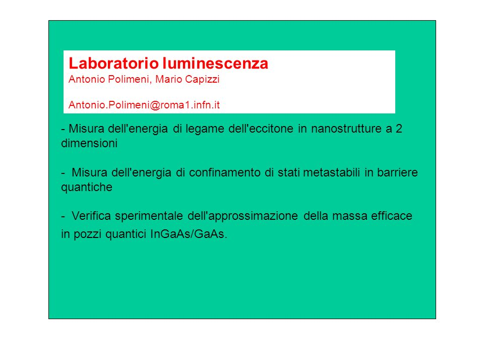 Laboratorio luminescenza