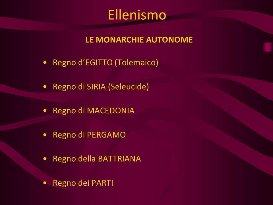 Ellenismo LE MONARCHIE AUTONOME Regno d'EGITTO (Tolemaico)