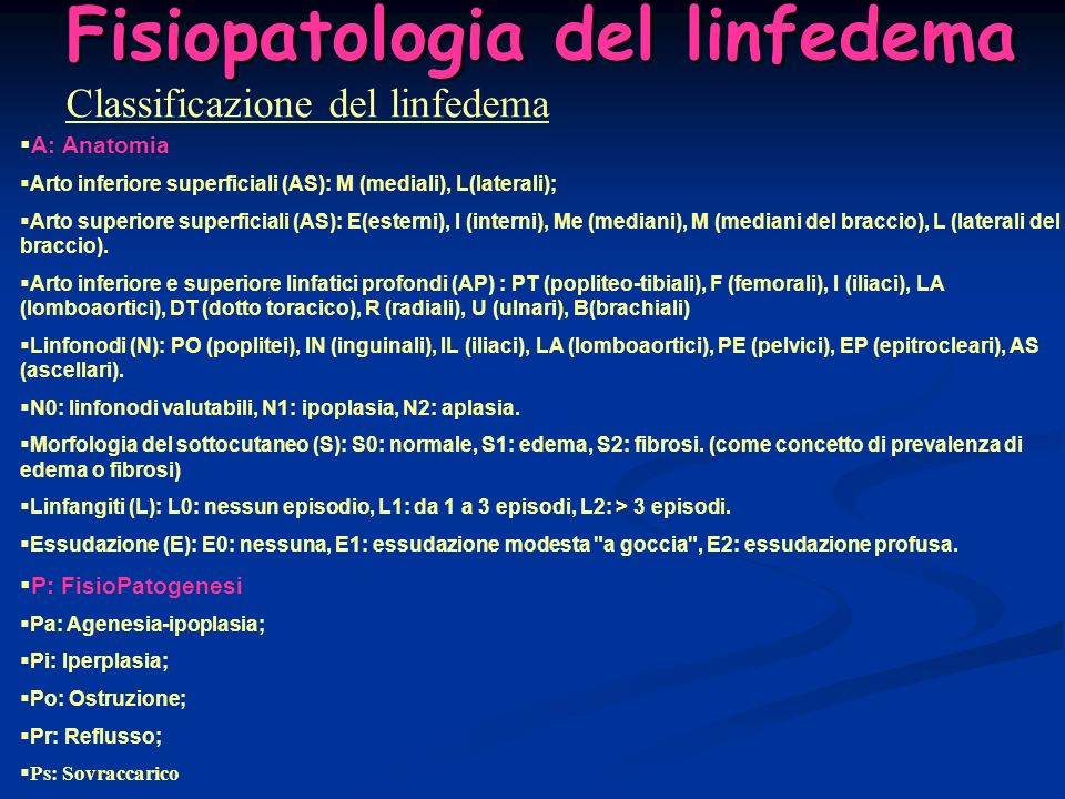 Fisiopatologia del linfedema Classificazione del linfedema