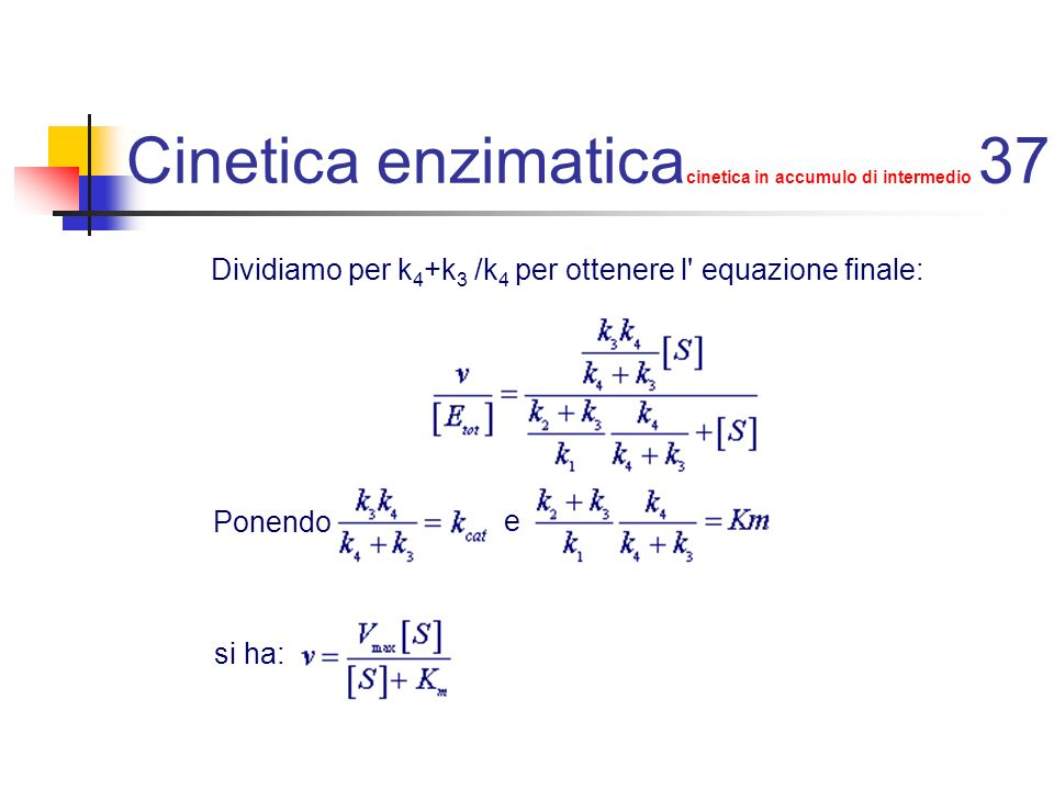 Cinetica enzimaticacinetica in accumulo di intermedio 37