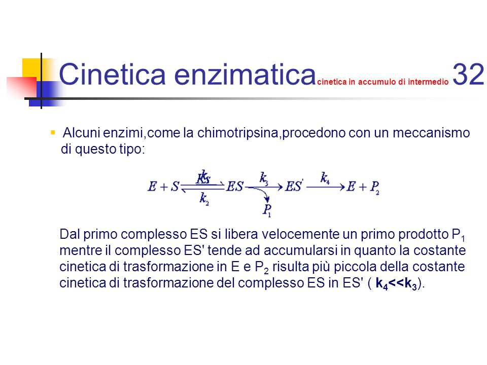 Cinetica enzimaticacinetica in accumulo di intermedio 32