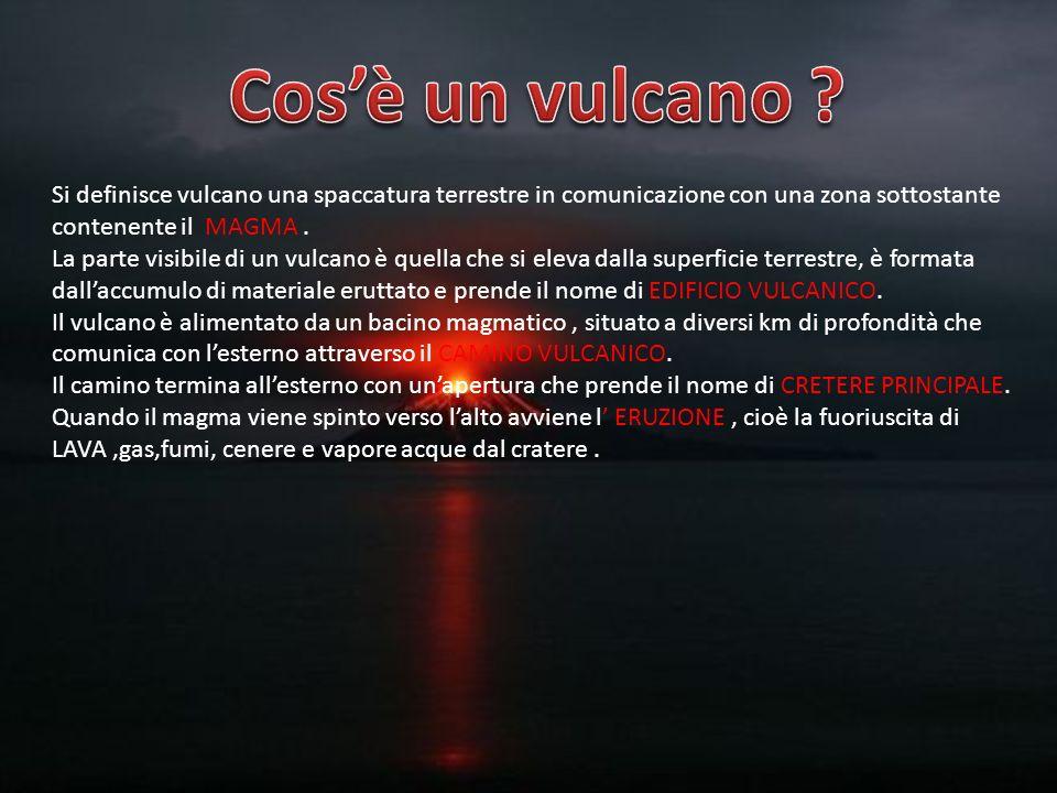 Cos'è un vulcano Si definisce vulcano una spaccatura terrestre in comunicazione con una zona sottostante contenente il MAGMA .
