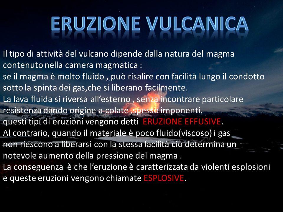 ERUZIONE VULCANICA Il tipo di attività del vulcano dipende dalla natura del magma. contenuto nella camera magmatica :