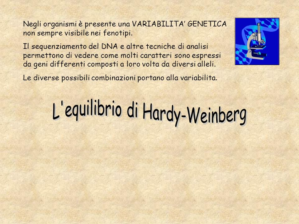 L equilibrio di Hardy-Weinberg