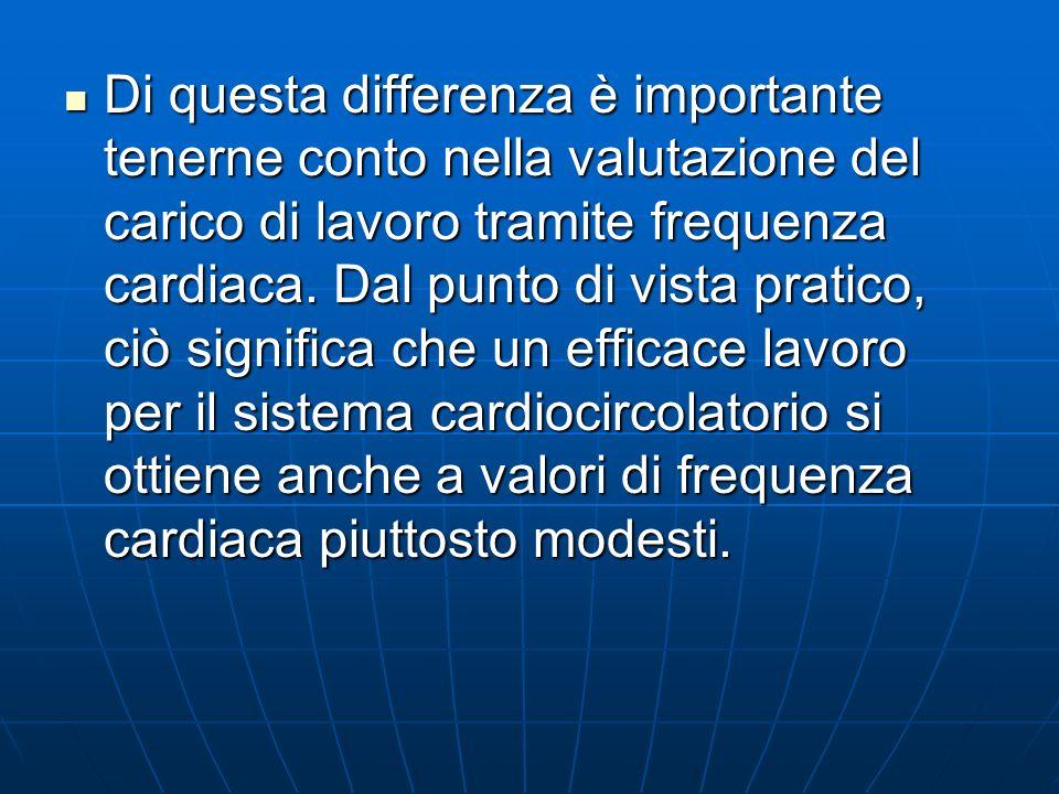 Di questa differenza è importante tenerne conto nella valutazione del carico di lavoro tramite frequenza cardiaca.
