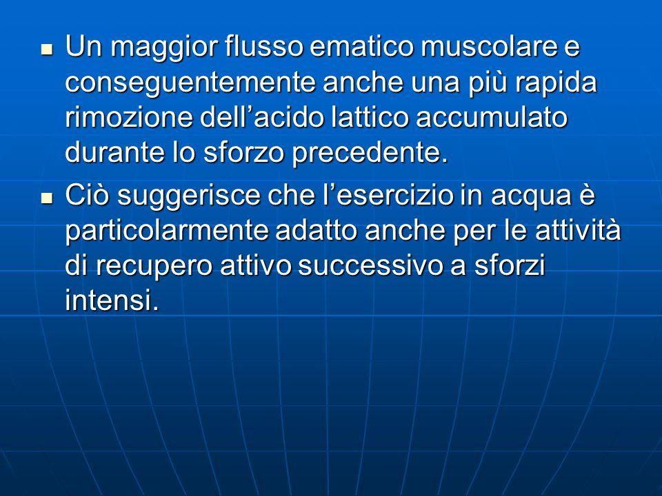 Un maggior flusso ematico muscolare e conseguentemente anche una più rapida rimozione dell'acido lattico accumulato durante lo sforzo precedente.