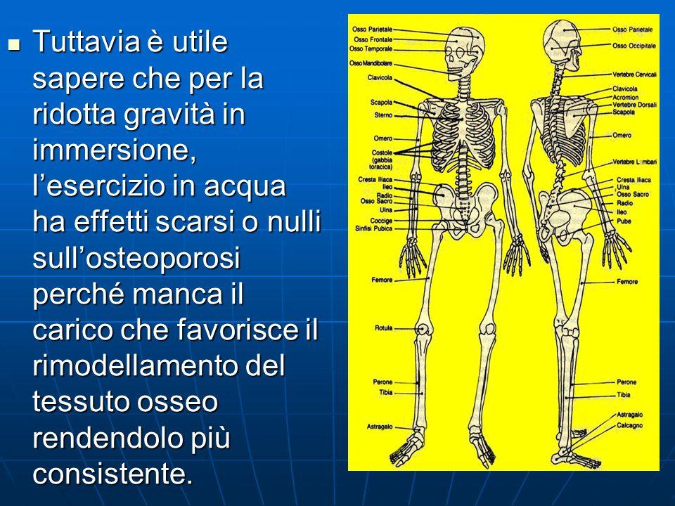 Tuttavia è utile sapere che per la ridotta gravità in immersione, l'esercizio in acqua ha effetti scarsi o nulli sull'osteoporosi perché manca il carico che favorisce il rimodellamento del tessuto osseo rendendolo più consistente.