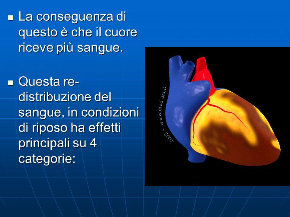 La conseguenza di questo è che il cuore riceve più sangue.