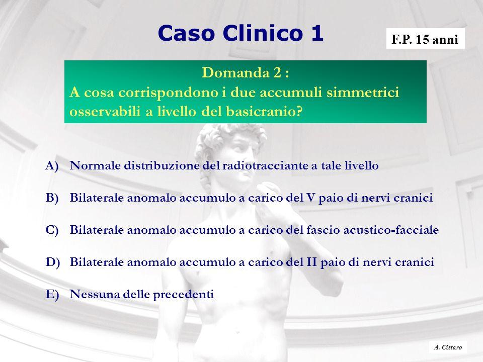 Caso Clinico 1 F.P. 15 anni. Domanda 2 : A cosa corrispondono i due accumuli simmetrici osservabili a livello del basicranio