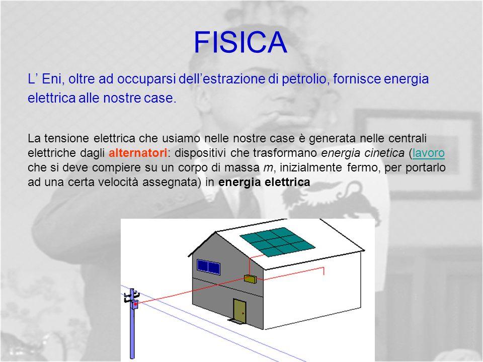 FISICA L' Eni, oltre ad occuparsi dell'estrazione di petrolio, fornisce energia elettrica alle nostre case.