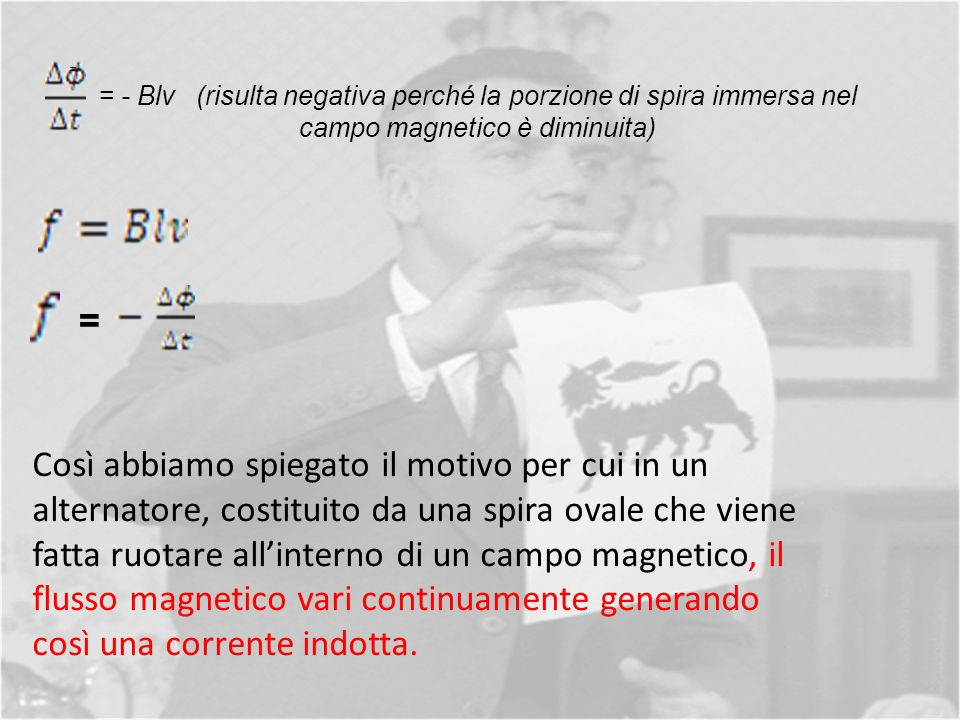 = = - Blv (risulta negativa perché la porzione di spira immersa nel campo magnetico è diminuita) =