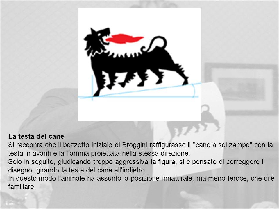 La testa del cane Si racconta che il bozzetto iniziale di Broggini raffigurasse il cane a sei zampe con la testa in avanti e la fiamma proiettata nella stessa direzione.
