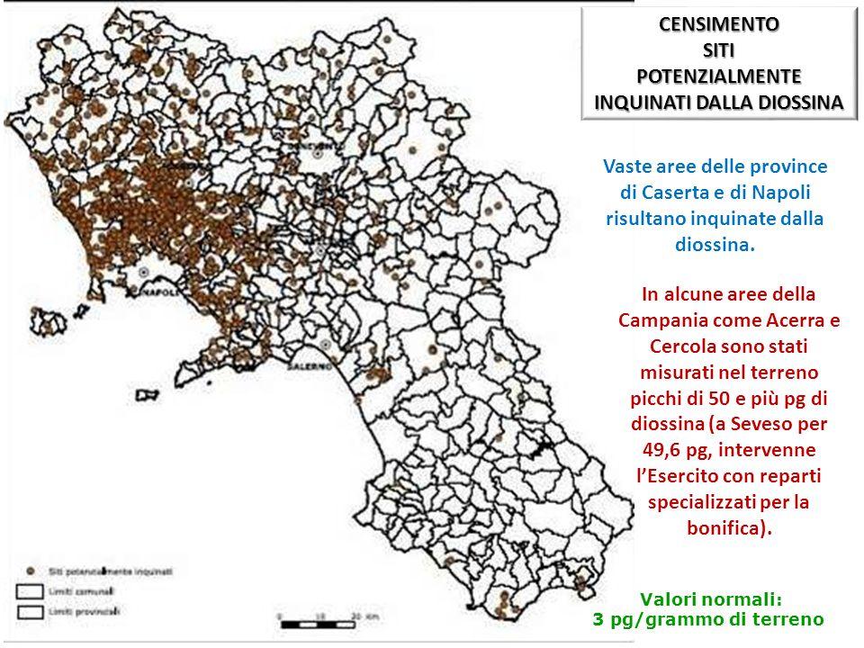 INQUINATI DALLA DIOSSINA Valori normali: 3 pg/grammo di terreno