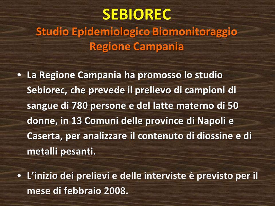 SEBIOREC Studio Epidemiologico Biomonitoraggio Regione Campania